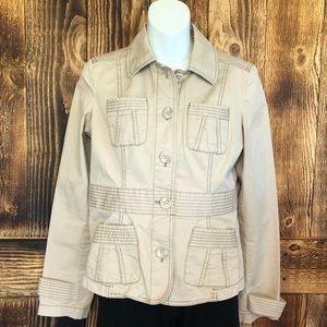 Loft - Khaki Utility Button Up Jacket - 4